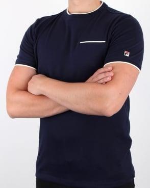 Fila Vintage Gianni T Shirt Navy