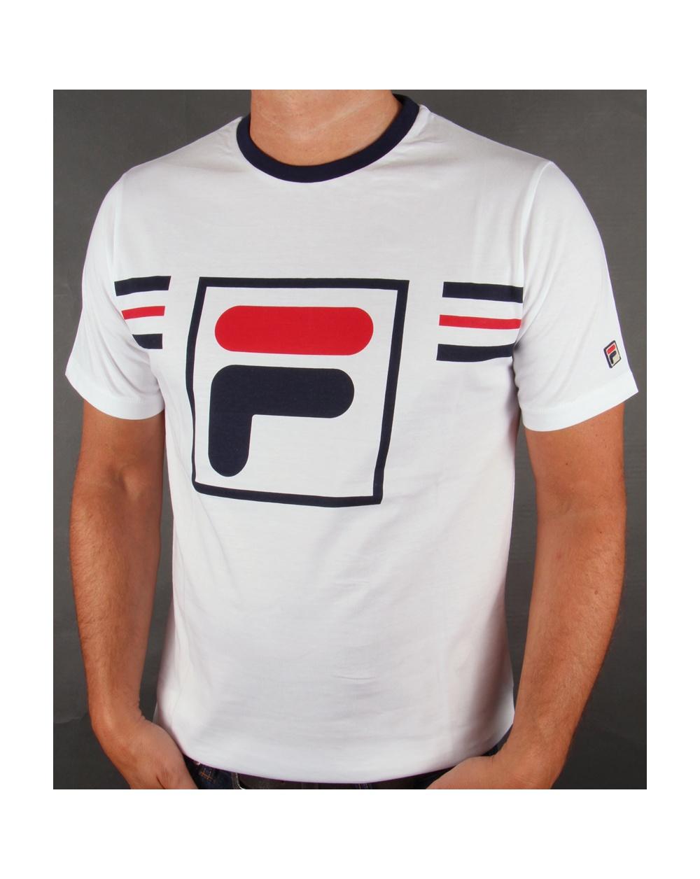 fila vintage gimondo t shirt white navy red crew neck logo tee white. Black Bedroom Furniture Sets. Home Design Ideas