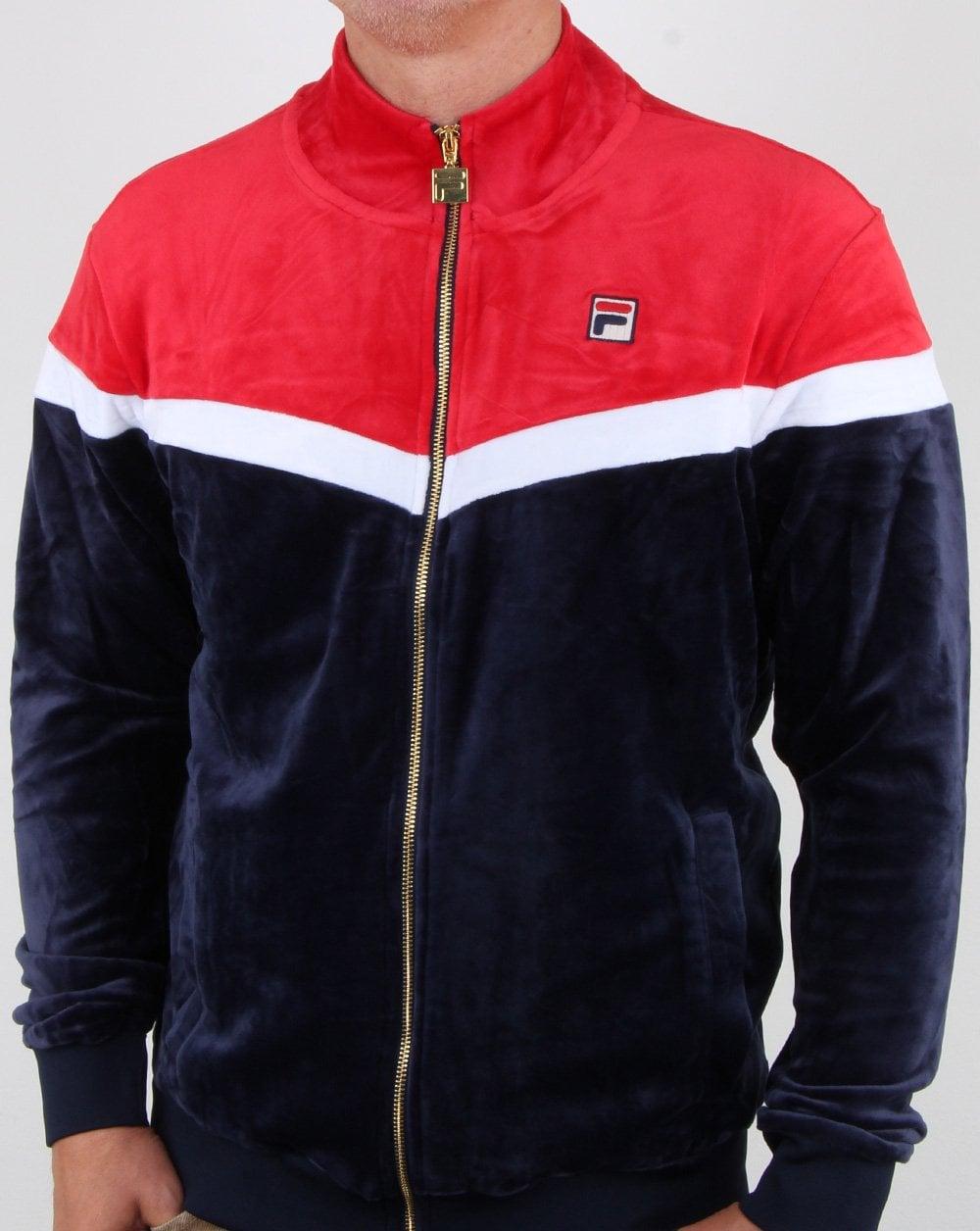 6c836815e67 Fila Vintage Harry Velour Track Top Navy/red/white, Mens, Track,Velour