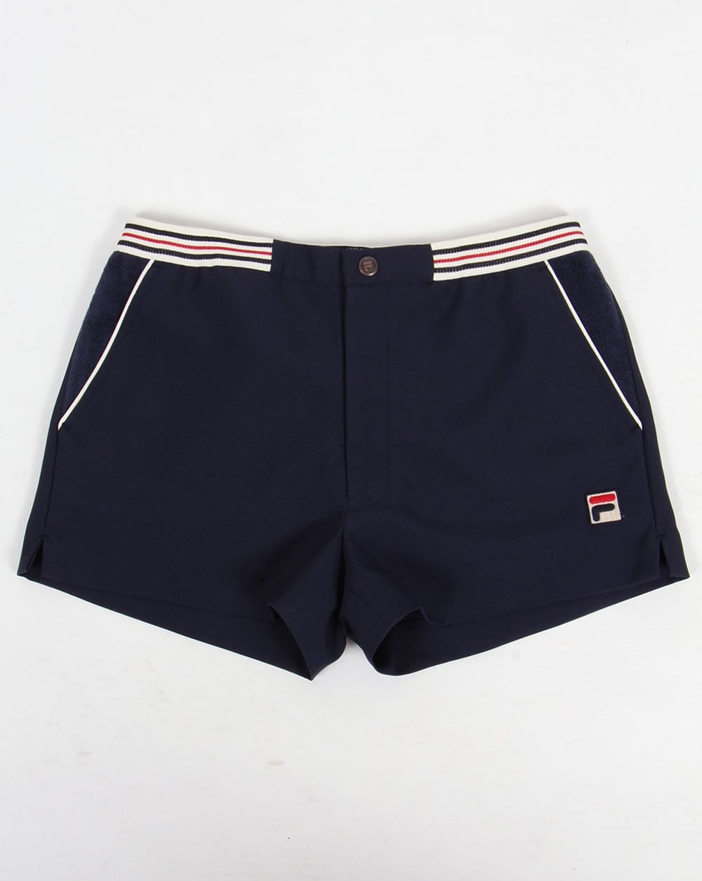 48e04cfc2ff3 Fila Vintage High Tide Shorts Navy striped waistband | 80s casual ...