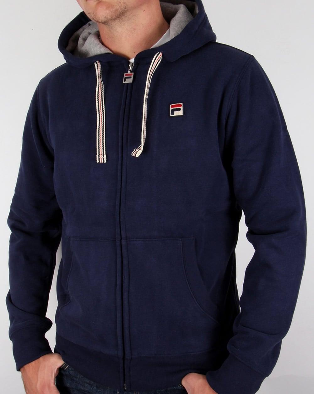 693cbadfb2a5d Fila Vintage Bagnoli Hoodie Navy,hooded,jacket,track,top,mens