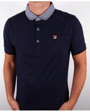 Fila Vintage Kissovos Penny Collar Polo Shirt Navy