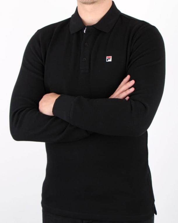 d4f0a68020adf Fila Vintage Bertoni Long Sleeve Polo Shirt Black,cotton,waffle,mens