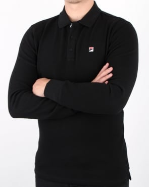 Fila Vintage Long Sleeve Polo Shirt Black