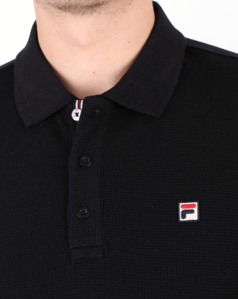 Fila Vintage Long Sleeve Polo Shirt Black
