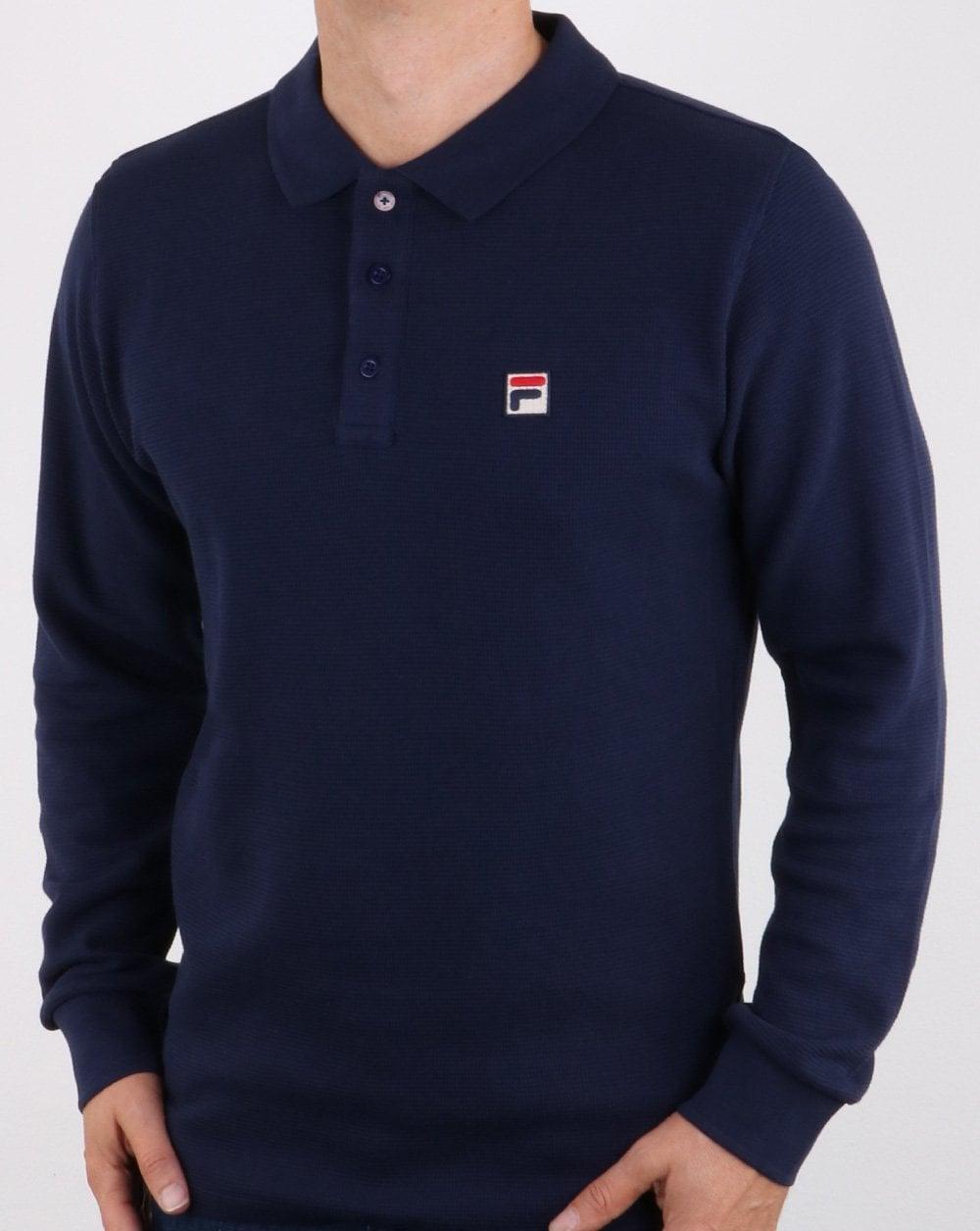 448752b6ba054 Fila Vintage Long Sleeve Polo Shirt Navy, Mens, Polo, Cotton, Smart