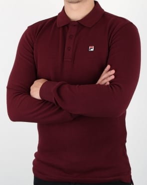Fila Vintage Long Sleeve Polo Shirt Rum Raisin