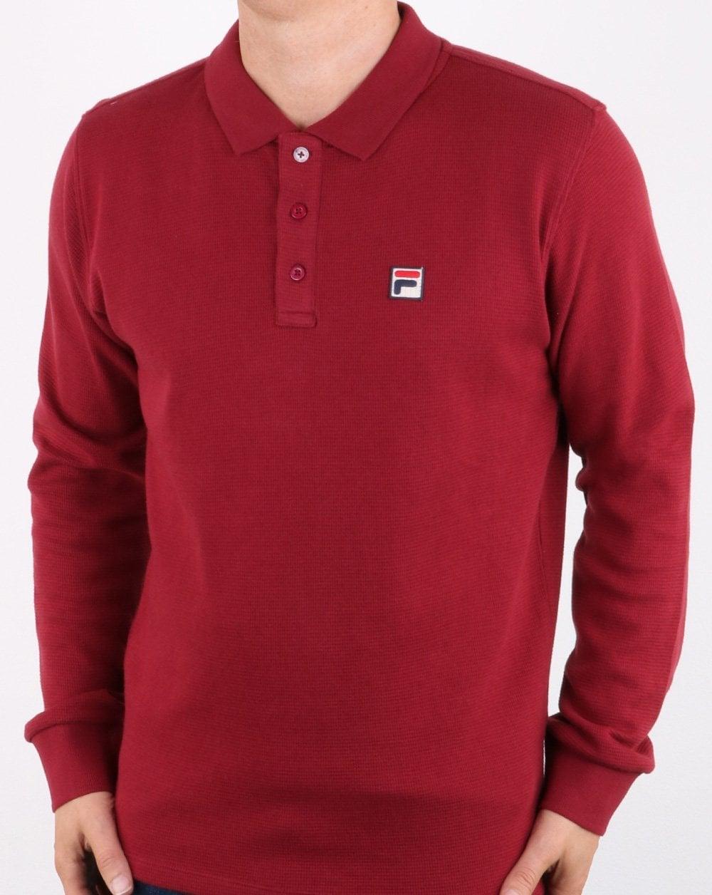 Fila Vintage Long Sleeve Polo Shirt Tibetan Red Menssmartcotton