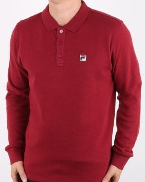 Fila Vintage Long Sleeve Polo Shirt Tibetan Red