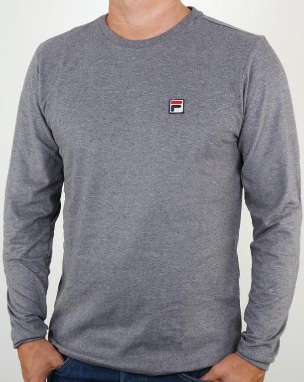 Fila Vintage Long Sleeve T Shirt Grey Marl