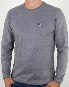 Fila Vintage Long Sleeve T Shirt Grey Marl