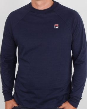 Fila Vintage Long Sleeve T Shirt Navy Blue