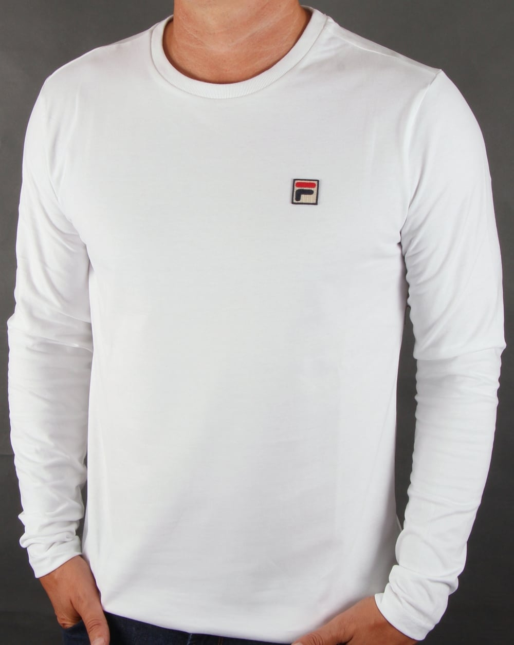 Fila Vintage Long Sleeve T Shirt White Tee Mens