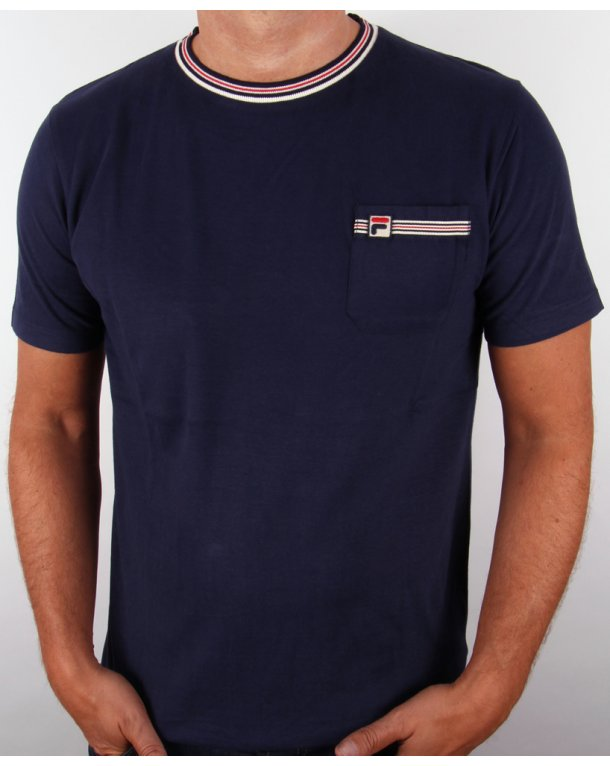 Fila Vintage Luzzi Tipped Pocket T-shirt Navy