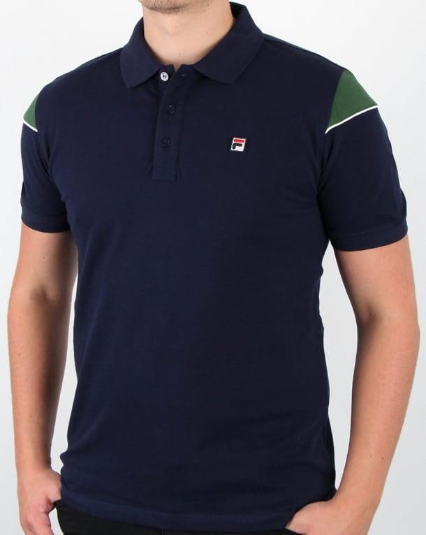 Fila Vintage Marchi Polo Shirt Navy