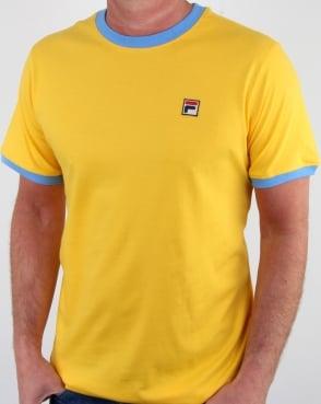 Fila Vintage Marconi T Shirt Yellow/lake Blue