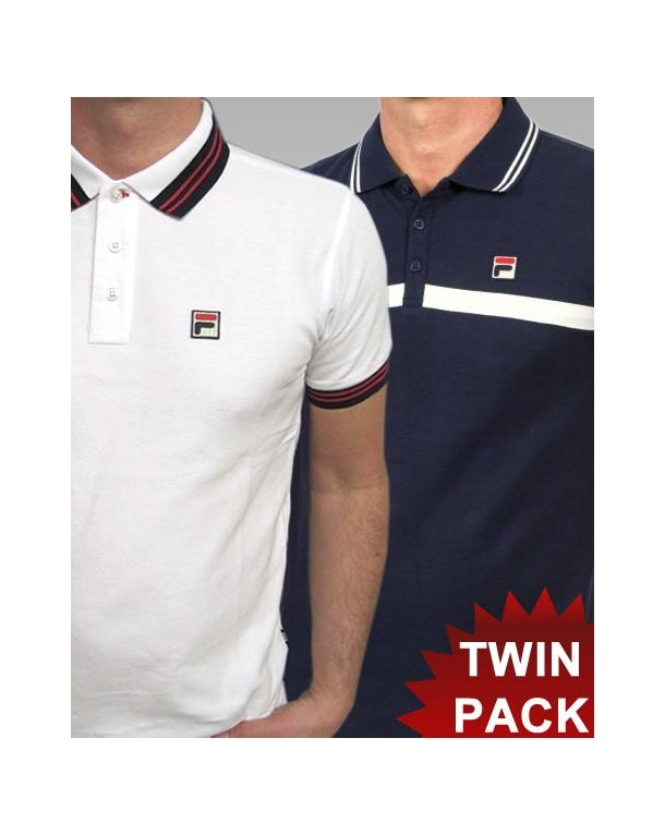 Fila Vintage Match & Castello Polo Shirt Twin Pack White/Navy