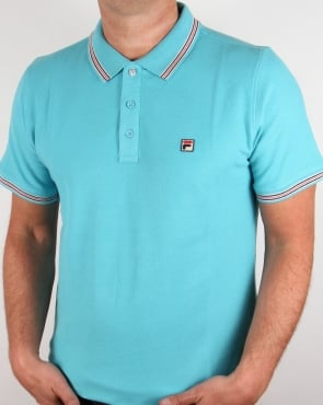Fila Vintage Matcho 3 Polo Shirt Blue Azure