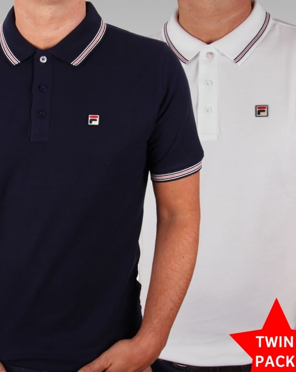 Fila Vintage Matcho 3 Polo Twin Pack White/Navy