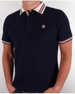 Fila Vintage Matcho Polo Shirt Navy