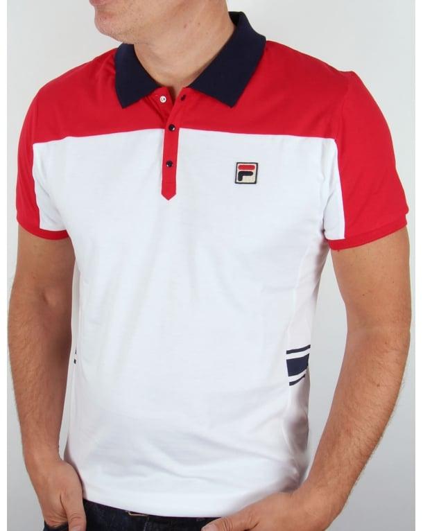 Fila Vintage Mivvi Polo Shirt White/Red