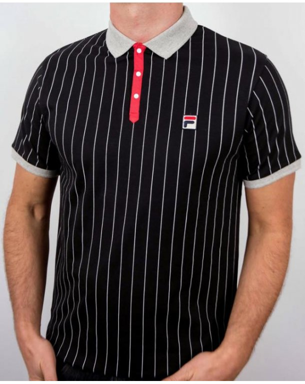 Fila Vintage Mk1 Settanta Polo Shirt Black/Grey/Red