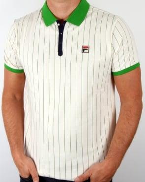 Fila Vintage Mk1 Settanta Polo Shirt Gardenia/green