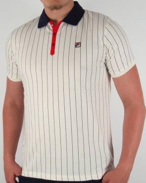 Fila Vintage Mk1 Settanta Polo Shirt Gardenia/Navy/Red 2016
