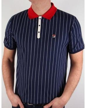 Fila Vintage Mk1 Settanta Polo Shirt Navy/Gardenia/Red