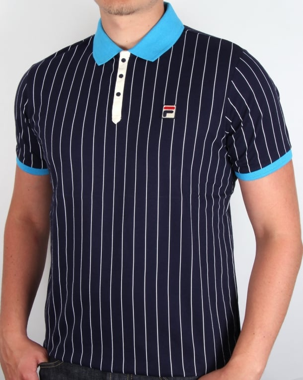 Fila Vintage Mk1 Settanta Polo Shirt Navy/Malibu Blue
