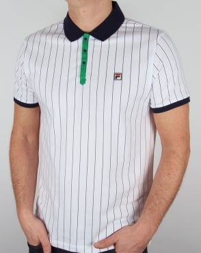 Fila Vintage Mk1 Settanta Polo Shirt White/Navy/Green