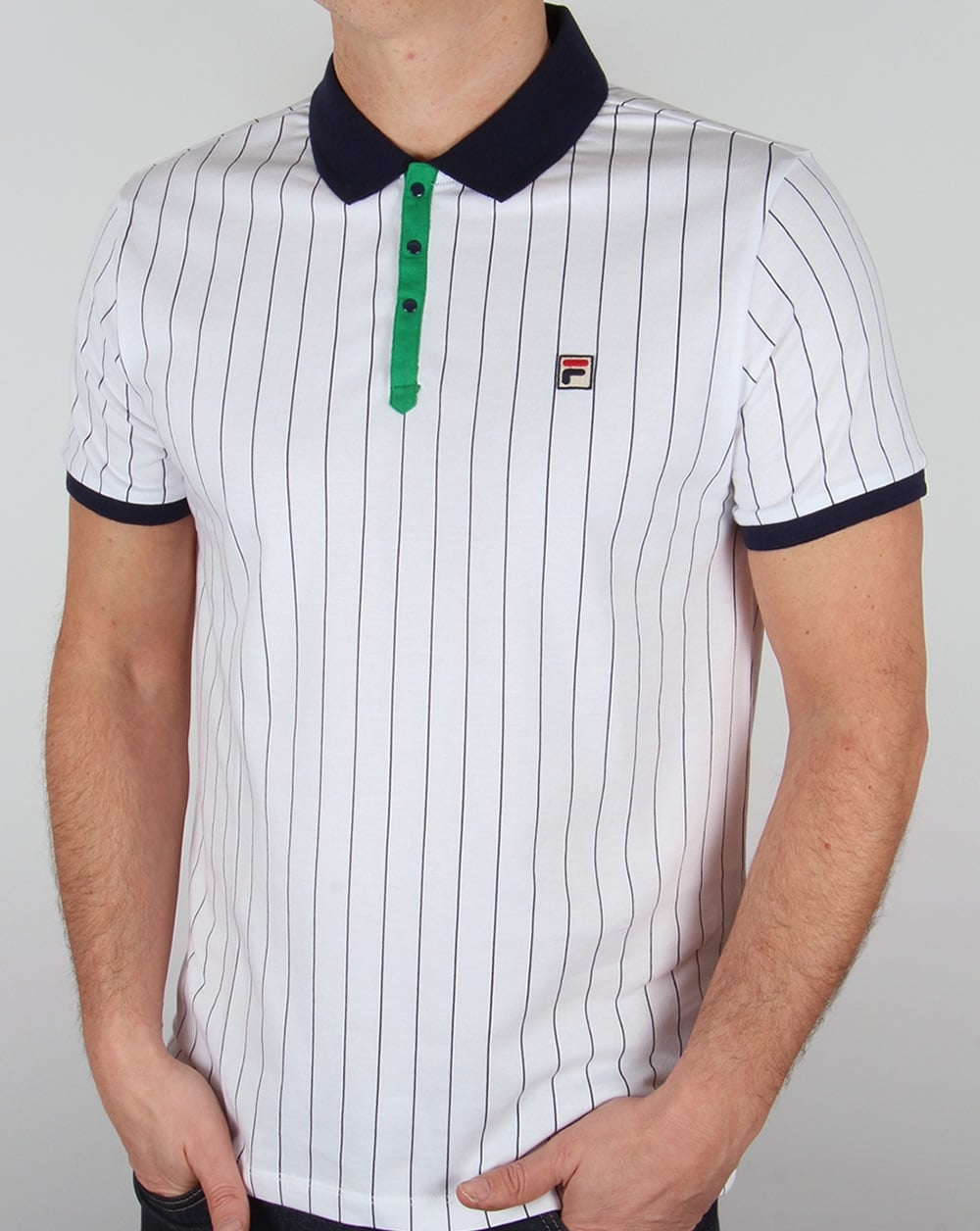 Fila Vintage Mk1 Settanta Polo Shirt WhiteNavyGreen