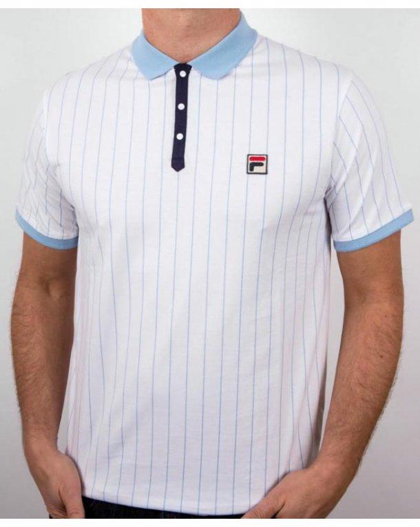 Fila Vintage Mk1 Settanta Polo Shirt White/Sky Blue/Navy