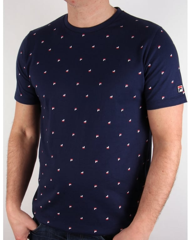 Fila Vintage Multi logo T-shirt Navy