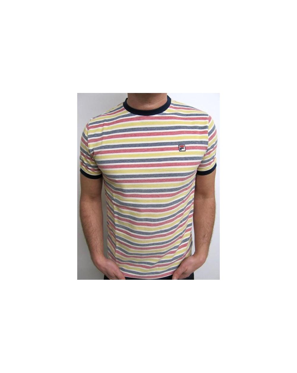 Fila Vintage Nautybuoy Striped T Shirt Navy Yellow Red