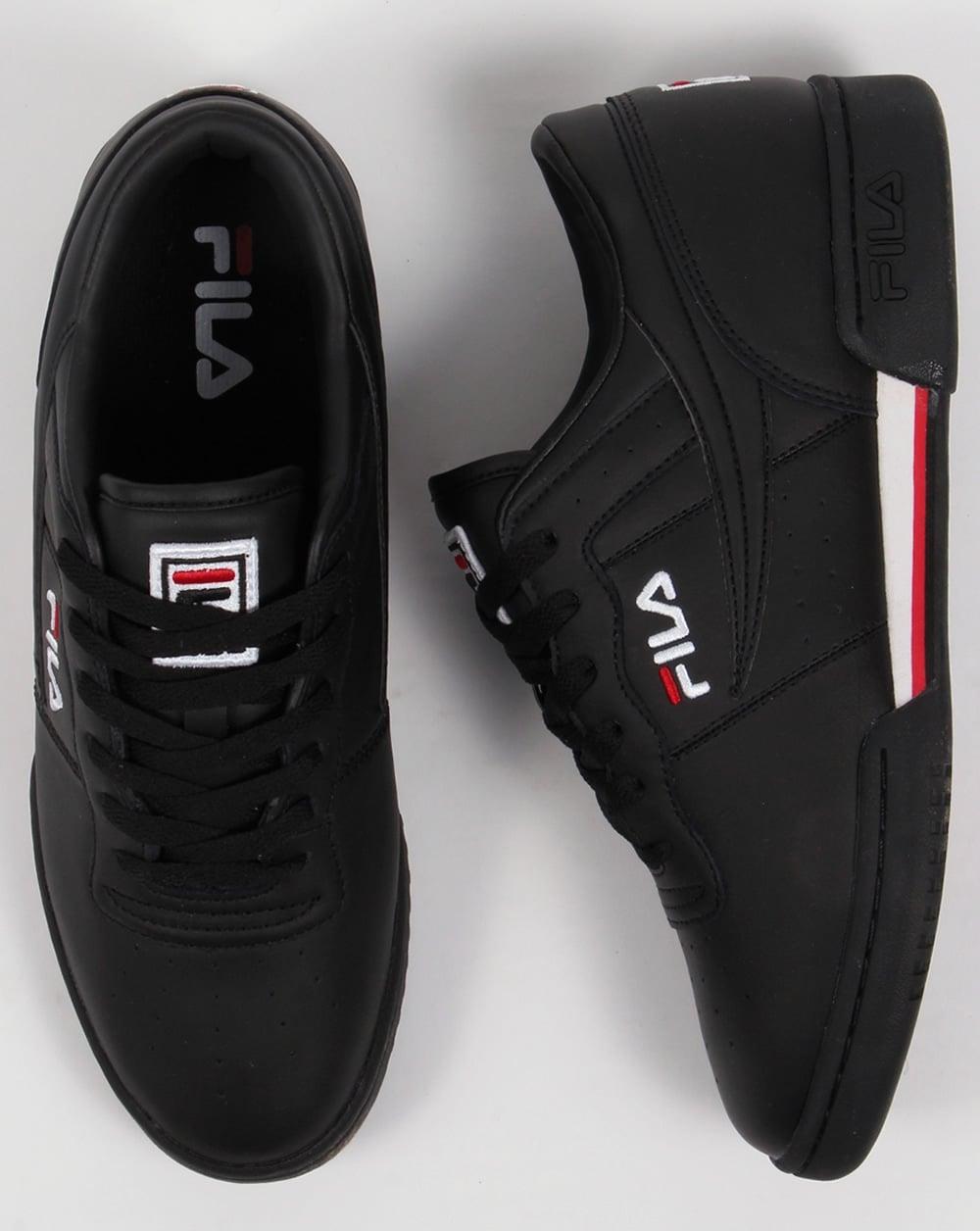 buy online 5bd31 6439a Fila Vintage Original Fitness Trainers Black White Red