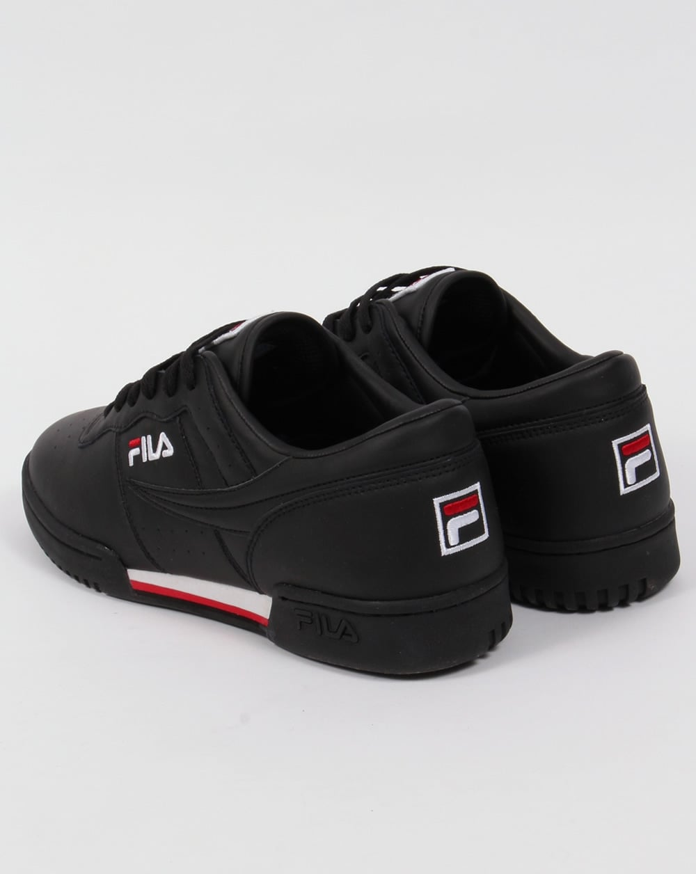 f52a7ffcf8bd Fila Vintage Original Fitness Trainers Black White Red