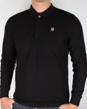 Fila Vintage Padola Long Sleeve Polo Shirt Black