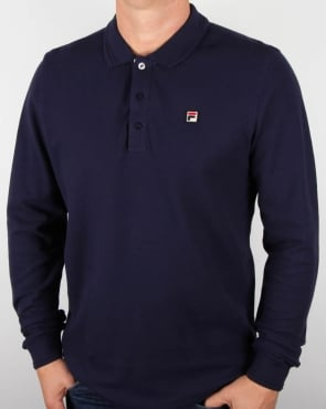 Fila Vintage Padola Long Sleeve Polo Shirt Navy