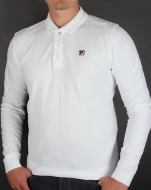 Fila Vintage Padola Long Sleeve Polo Shirt White