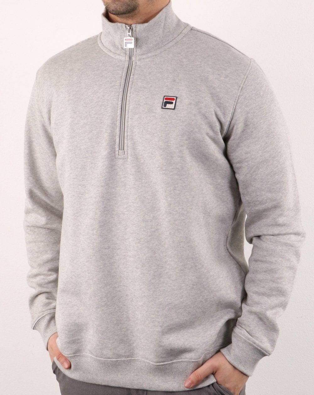 cf99af746847 Fila Vintage Palermo Half Zip Sweatshirt Grey   80s casual classics