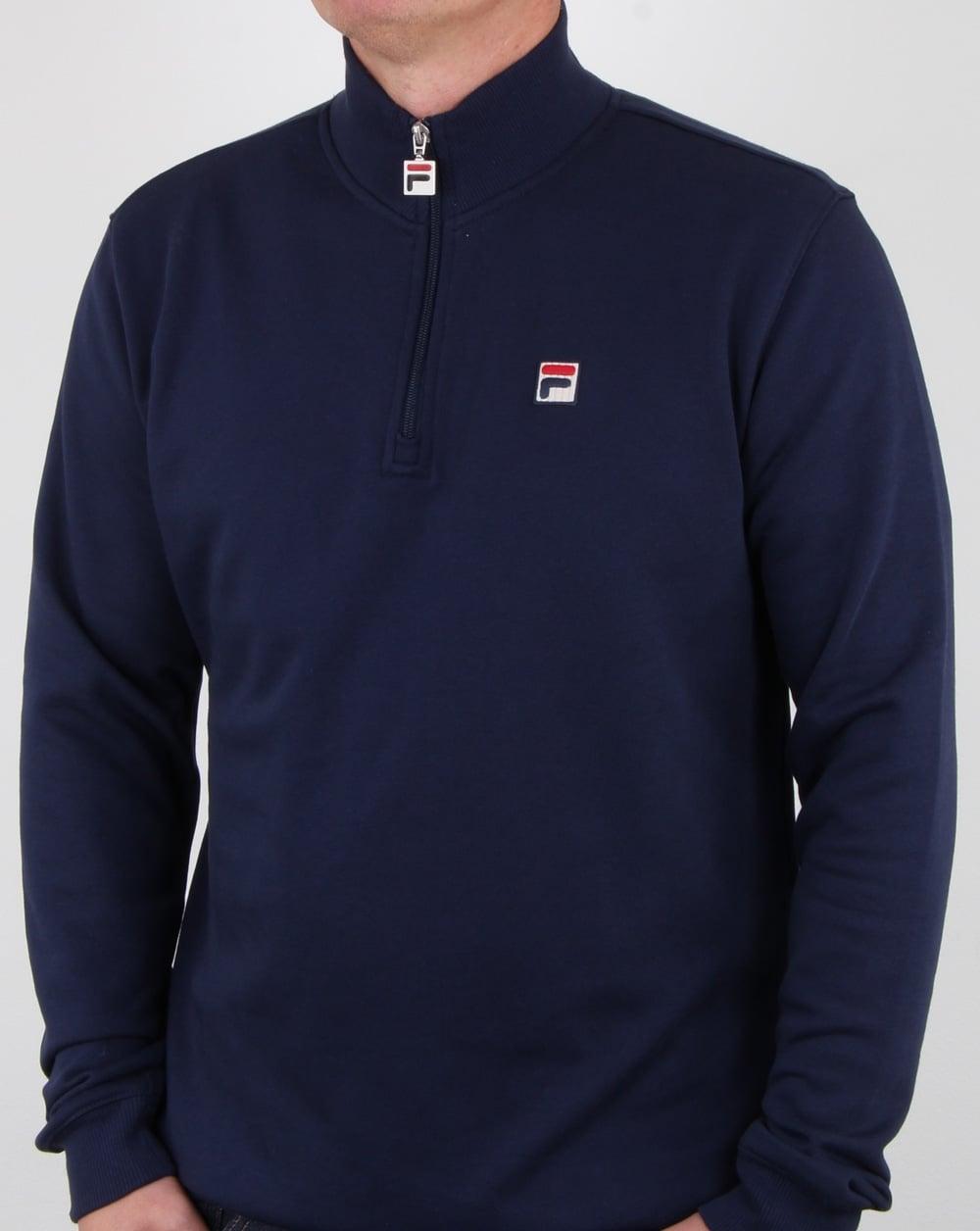 78a323dd370b Fila Vintage Palermo Zip Sweat Navy, Mens, Sweatshirt, Half Zip,Cotton