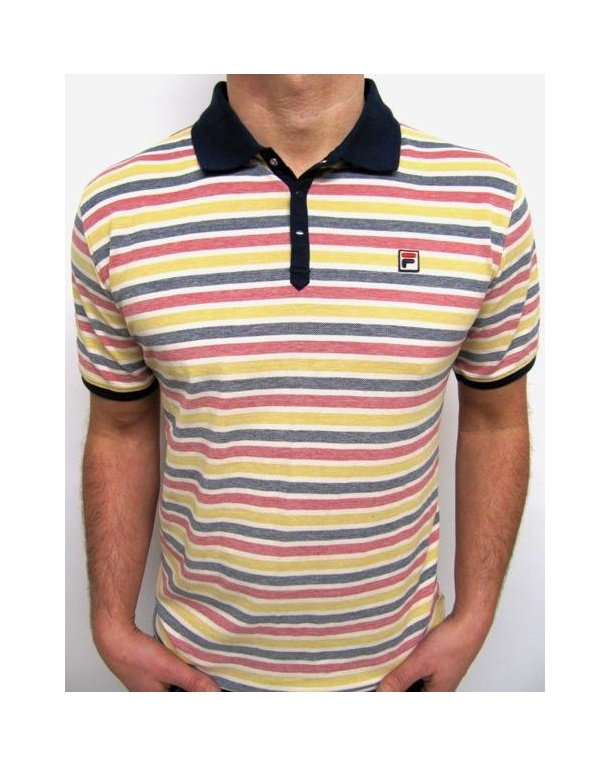 Fila Vintage Paradocks Striped Polo Shirt Navy/Yellow/Red