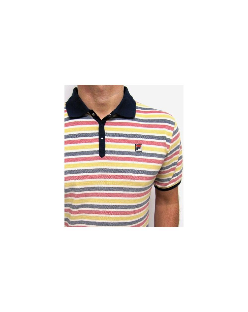 Fila Vintage Paradocks Striped Polo Shirt Navy Yellow Red