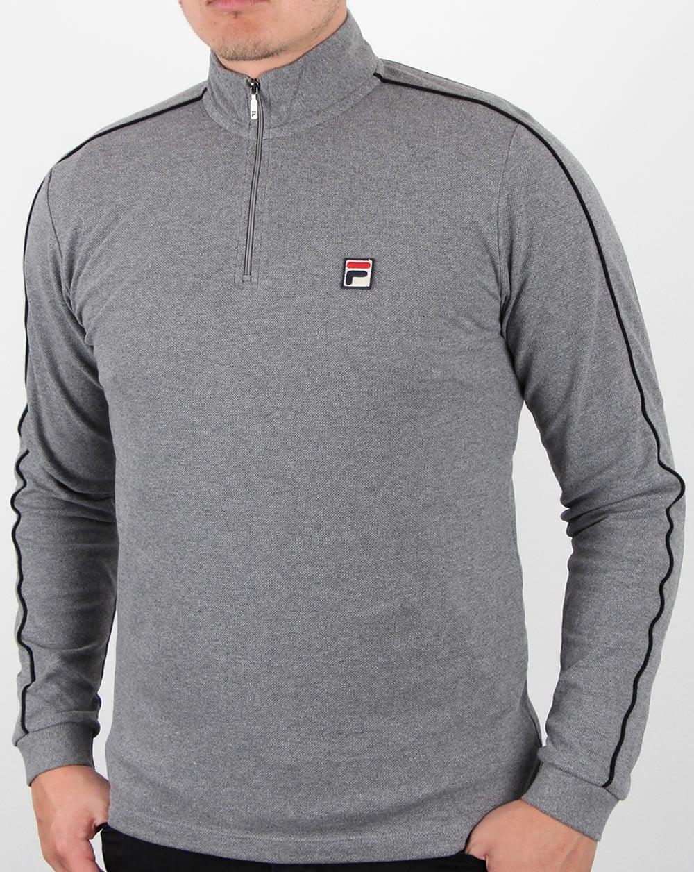 c0c53735f56e Fila Vintage Parrini Zip Neck Polo Grey Twist,zipped,long sleeve,mens