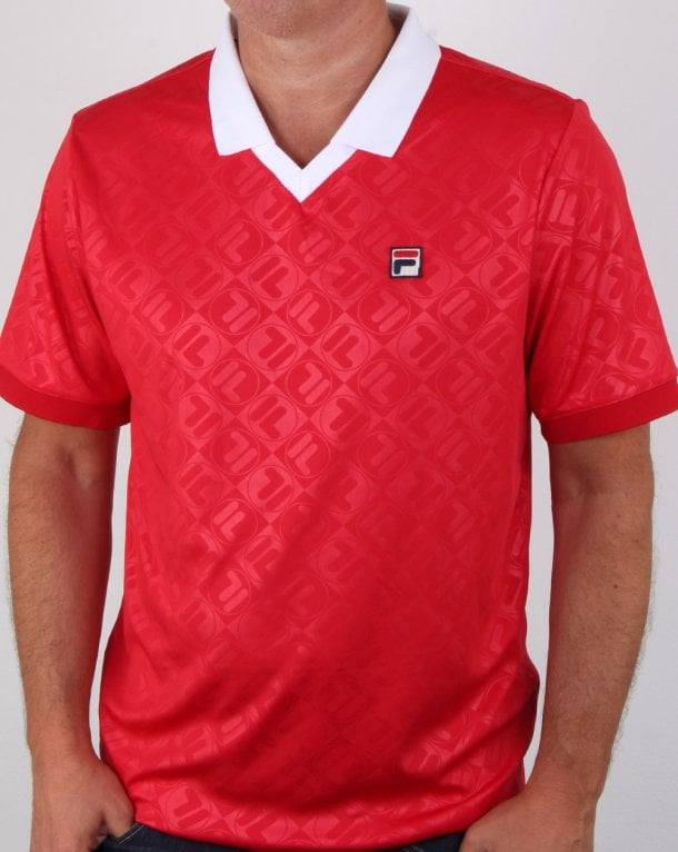 Fila Vintage Paxton Polo Shirt Red/white