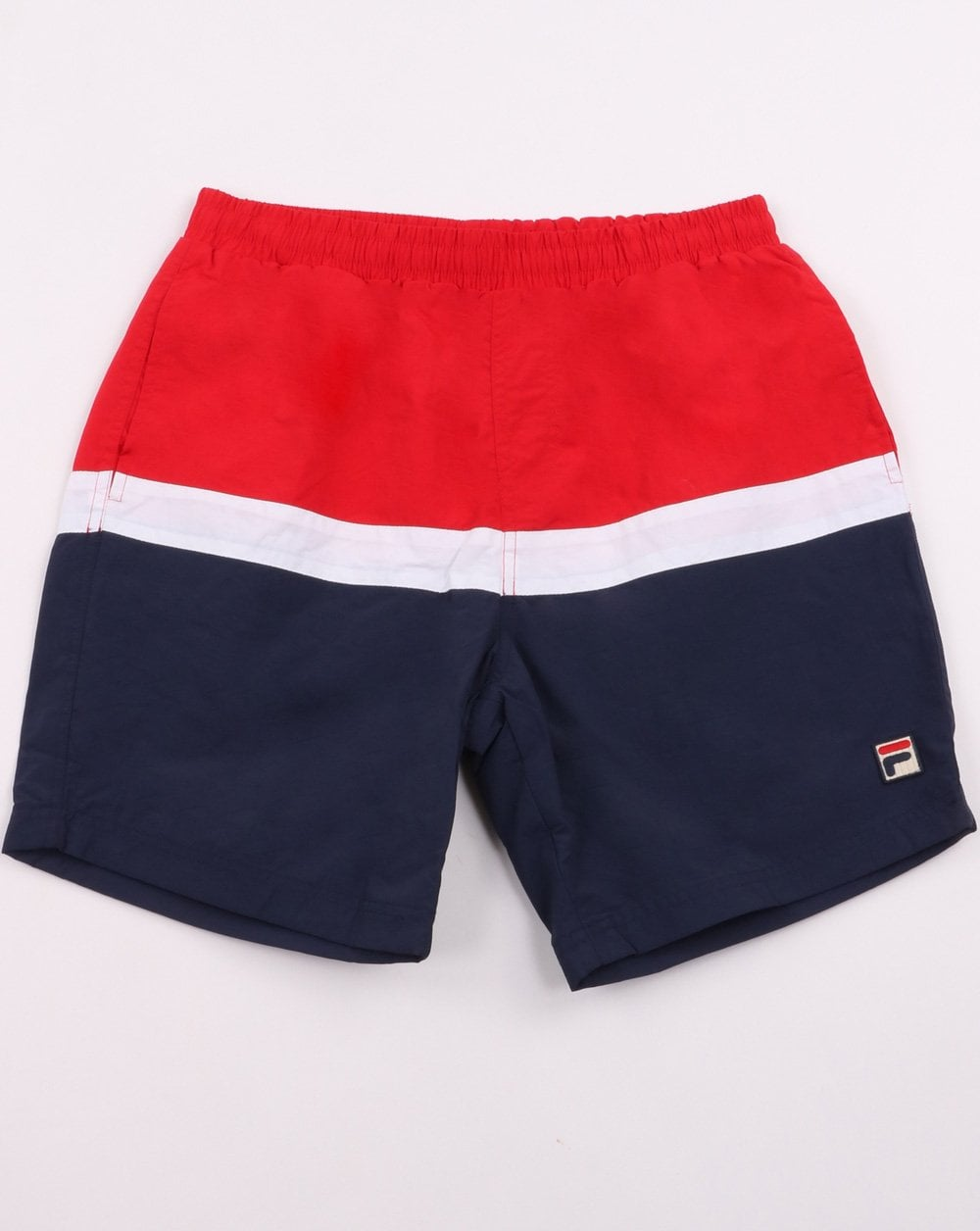 2825d2e2a0 Fila Vintage Swim Shorts, Navy/Red/White | 80s Casual Classics