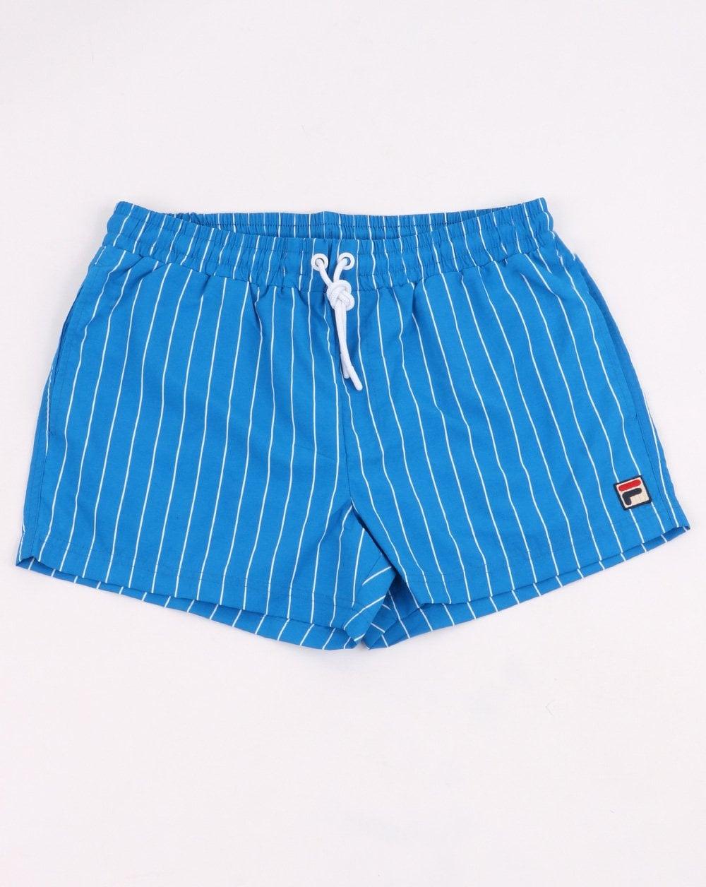cab6bd97b03b Fila Vintage Pinstripe Swim Shorts Blue| 80s casual classics