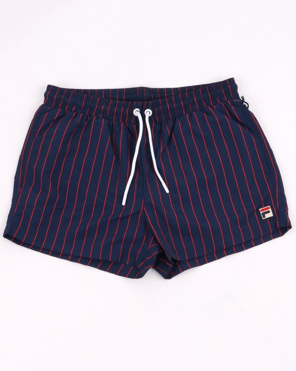 12e97f86b893 Fila Vintage Pinstripe Gustav Swim Shorts Navy | 80s casual classics