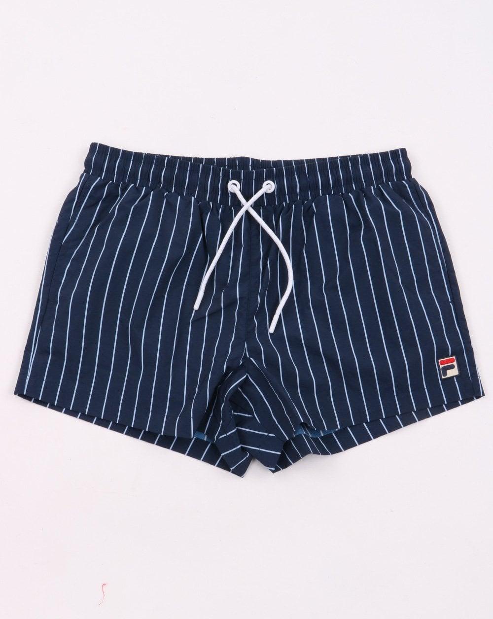Fila Vintage Pinstripe Swim Shorts Navy
